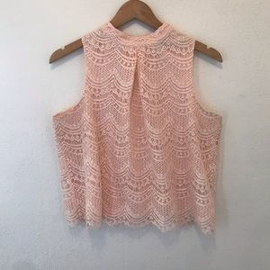Pink cropped lace tank